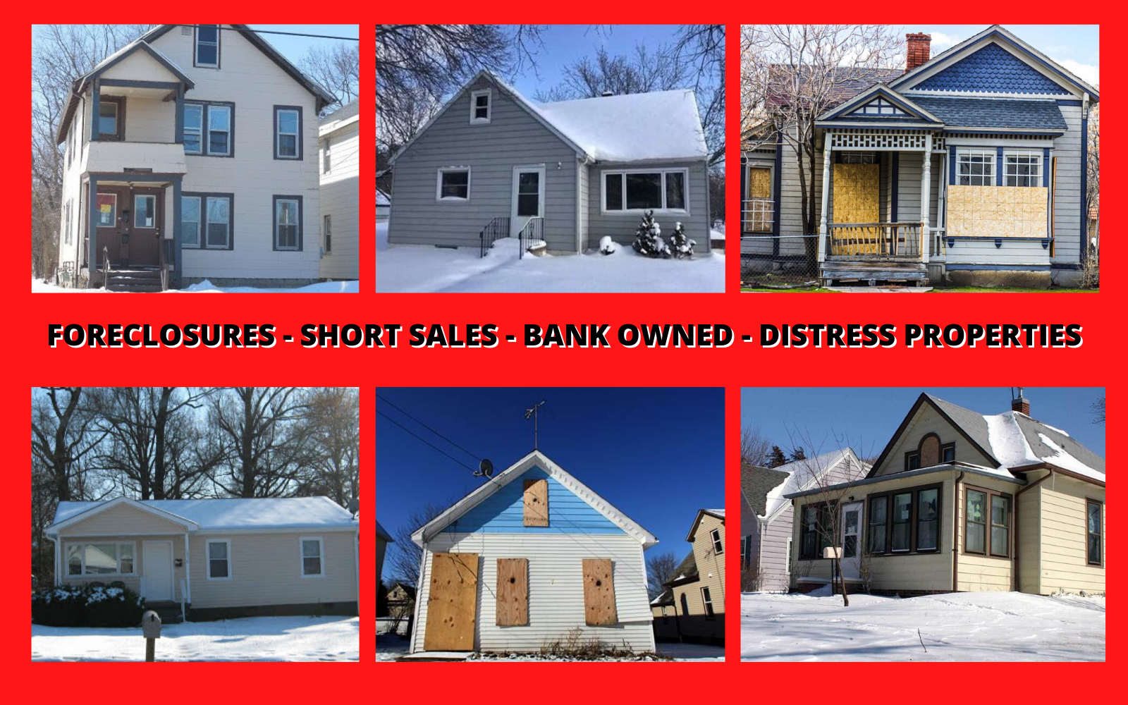 FORECLOSURES - SHORT SALES - BANK OWNEDred bcground